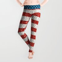 artsy Leggings featuring USA by Bianca Green