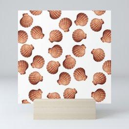 White big Clam pattern Illustration design Mini Art Print