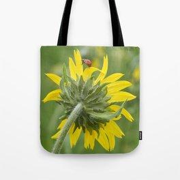 Ladybug climbing wildflower Tote Bag