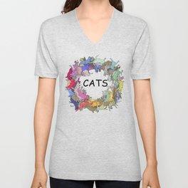Colorful Rainbow Cats Unisex V-Neck