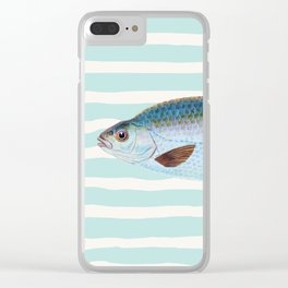 VINTAGE BLUE FISH Clear iPhone Case
