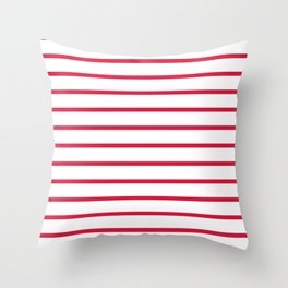 Horizontal Lines (Crimson/White) Throw Pillow
