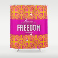 freedom Shower Curtains featuring Freedom by Peter Gross