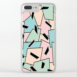 Funky Party Rainbow Colors Memphis 80's Design Pattern Clear iPhone Case