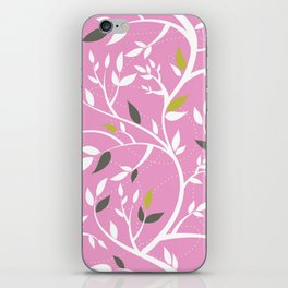Elegant botanical pattern branches leaves dusty pink iPhone Skin