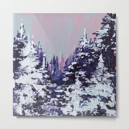 Snowy Evergreens Metal Print