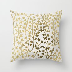 Gold Ivy Throw Pillow