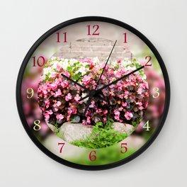 pink Begonia semperflorens clumps Wall Clock