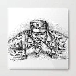 African American Soldier Praying Tattoo Metal Print