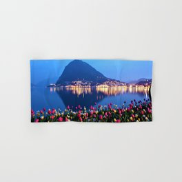 Tulips - Lake Lugano, Switzerland Landscape Photograph Hand & Bath Towel
