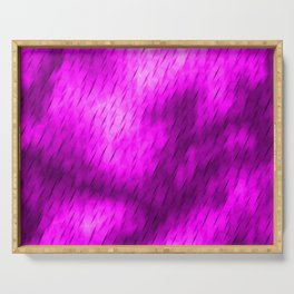 Line texture of magenta oblique dashes with a luminous intersection on a luminous charcoal. Serving Tray