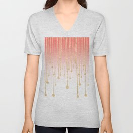 Color block coral faux gold glitter waterdrops ombre Unisex V-Neck