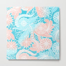 Artsy Summer Coral Aqua Hand Drawn Floral Pattern Metal Print