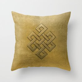 Golden Embossed Endless Knot Throw Pillow