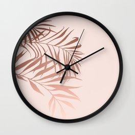 Boho, Tropical, Palms Print, Rose gold and Pink Wall Clock