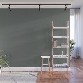Dark Muted Green Grey Solid Color Inspired by Jolie Paint 2020 Color of the Year Legacy Wall Mural