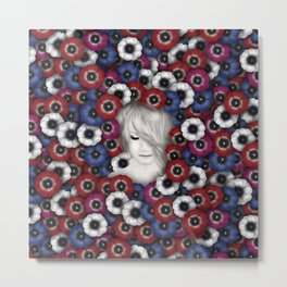 Girl with anemones Metal Print