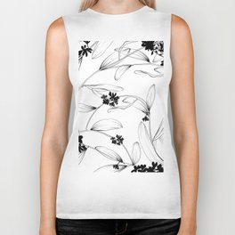 Black and white flora Biker Tank