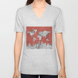 world map city skyline 9 Unisex V-Neck
