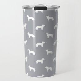 Australian Cattle Dog silhouette pattern portrait dog pattern grey and white Travel Mug
