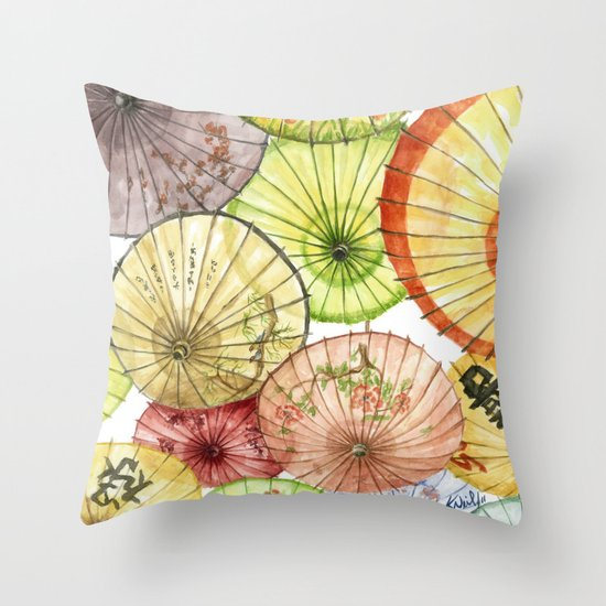 Paper Umbrellas Throw Pillow