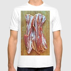 Bacon Mens Fitted Tee White MEDIUM