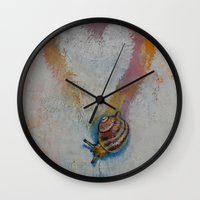 snail Wall Clocks featuring Snail by Michael Creese