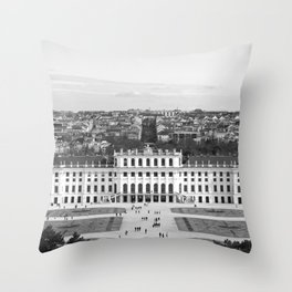Schönbrunn Palace in Black and White Throw Pillow