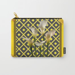 Charcoal Grey-Gold White Calla Lilies Carry-All Pouch