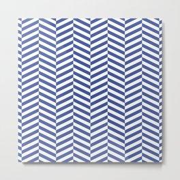 Classic blue chevron Metal Print