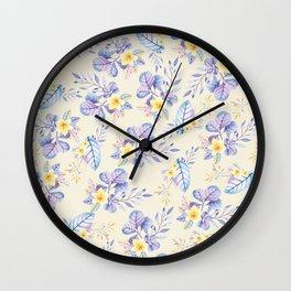 Lavender yellow purple watercolor modern floral Wall Clock