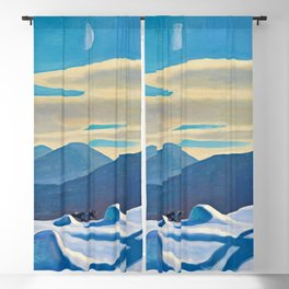 The Trapper, Winter Mountain landscape painting by Rockwell Kent Blackout Curtain
