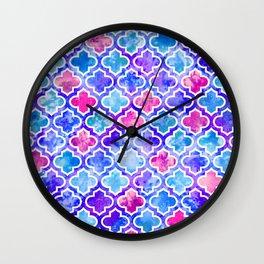 Moroccan Watercolor Print- Blues and Pinks Wall Clock