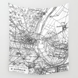 Vintage Paris Map Wall Tapestry