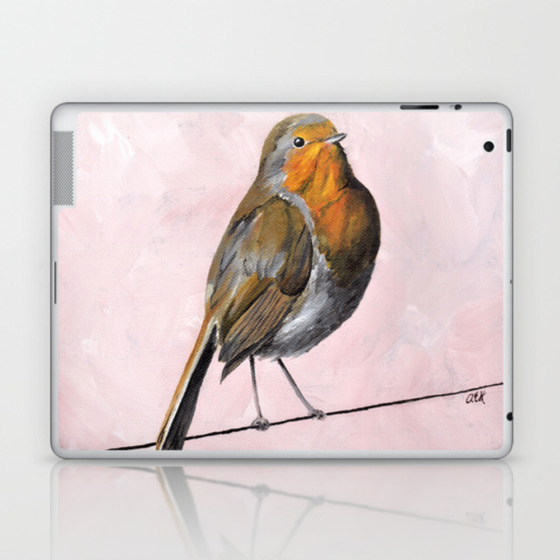 Robin Redbreast, Orange Bird Art Laptop & iPad Skin by ahockenberry (LSK7715409) photo