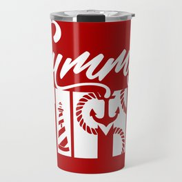 Summer TIME Nautical Solid Red, Seagull, Lounge Chair, Lighthouse, Anchor, Rope, Compass, Sail Boat Travel Mug