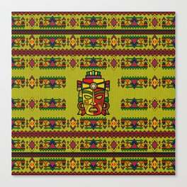 Colorful Aztec Inca Mayan Mask Canvas Print
