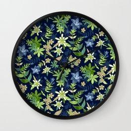 Alpine Flowers Blue - Gentian, Edelweiss Wall Clock