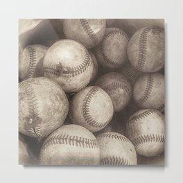 Bucket of Old Baseballs in Sepia Metal Print