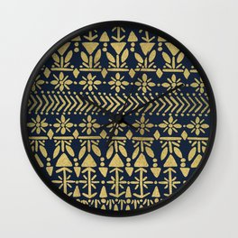 Norwegian Pattern – Gold on Navy Wall Clock