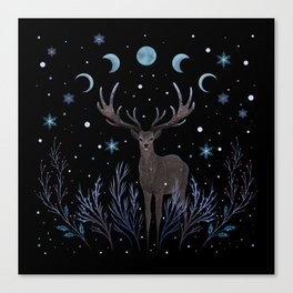 Deer in Winter Night Forest Canvas Print