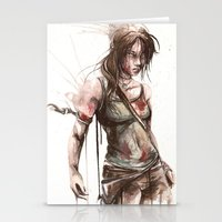 lara croft Stationery Cards featuring Lara by Alonzo Canto