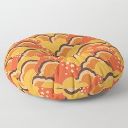 Retro 70s Inspired Boho Clouds Oranges Yellow Browns Floor Pillow