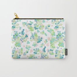Blue green polka dots on a white background . Carry-All Pouch