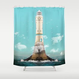 Lighthouse Levitaion Shower Curtain