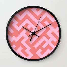 Cotton Candy Pink and Coral Pink Diagonal Labyrinth Wall Clock