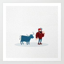 Paul Bunyan and Babe the Blue Ox Art Print