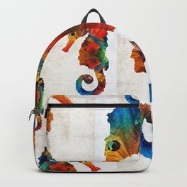 Colorful Seahorse Collage Art by Sharon Cummings Backpack