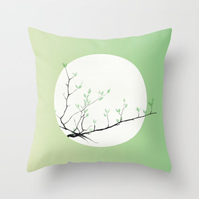 Grass Sprouts, Trees Bud Throw Pillow
