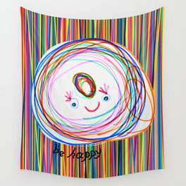 Be Happy | Smile | Stay Child | Kids Painting Wall Tapestry